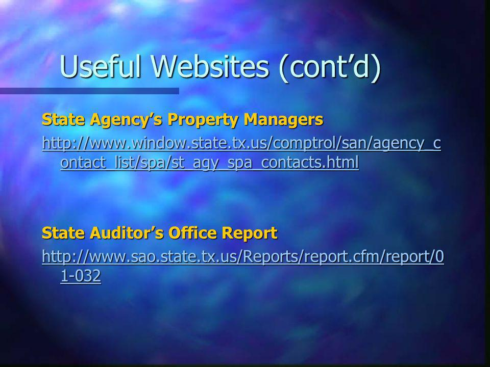 Useful Websites (contd) State Agencys Property Managers http://www.window.state.tx.us/comptrol/san/agency_c ontact_list/spa/st_agy_spa_contacts.html h
