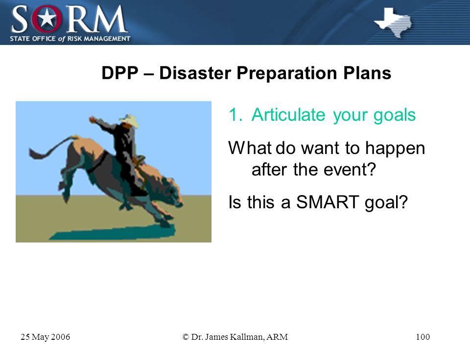 25 May 2006© Dr. James Kallman, ARM99 DPP – Disaster Preparation Plans 1.Articulate your goals 2.Assess hazards 3.Assess current plans 4.Develop/revis