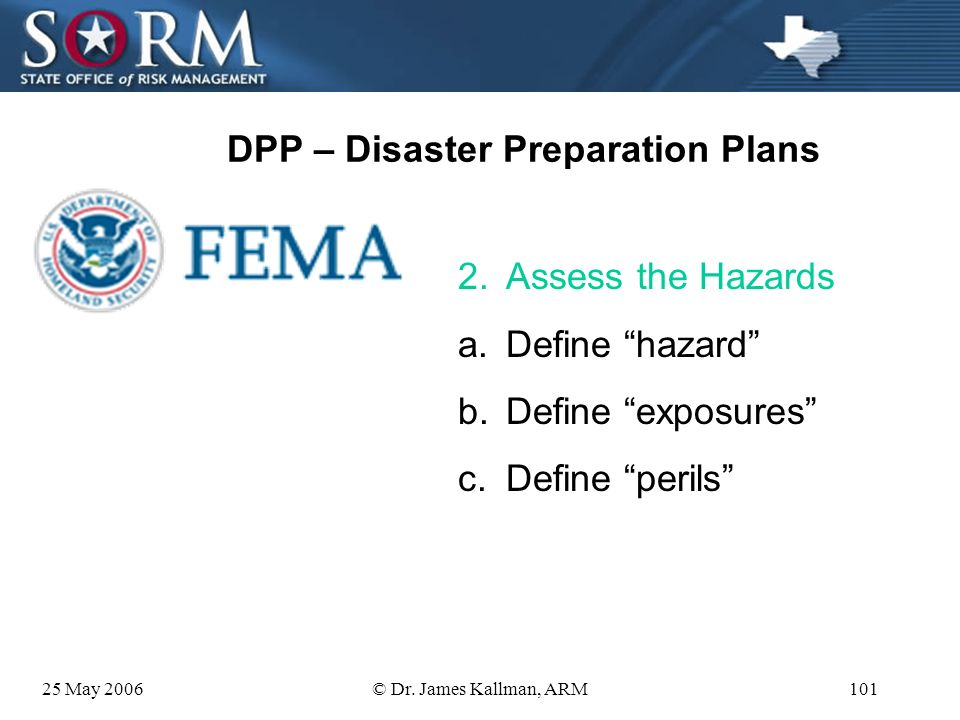 25 May 2006© Dr. James Kallman, ARM100 DPP – Disaster Preparation Plans 1.Articulate your goals What do want to happen after the event? Is this a SMAR