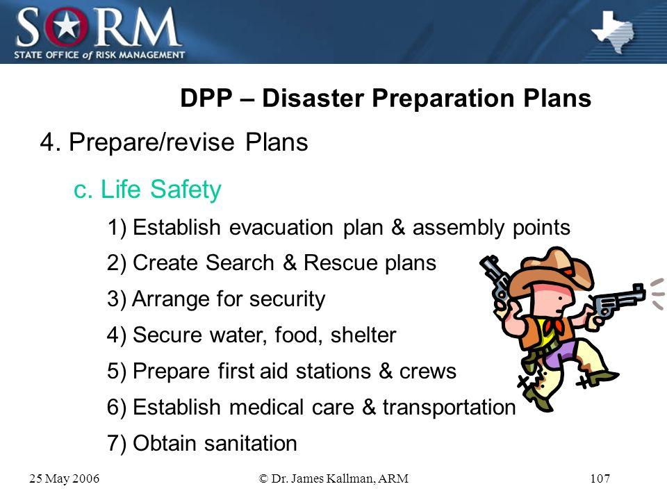 25 May 2006© Dr. James Kallman, ARM106 DPP – Disaster Preparation Plans 4. Prepare/revise Plans b. Communications 1) Lists of key ER personnel 2) Set