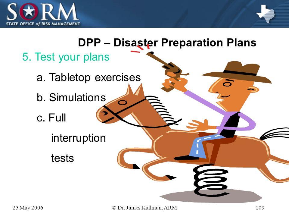 25 May 2006© Dr. James Kallman, ARM108 DPP – Disaster Preparation Plans 4. Prepare/revise Plans d. Asset Management 1) Prepare budgets 2) Arrange for