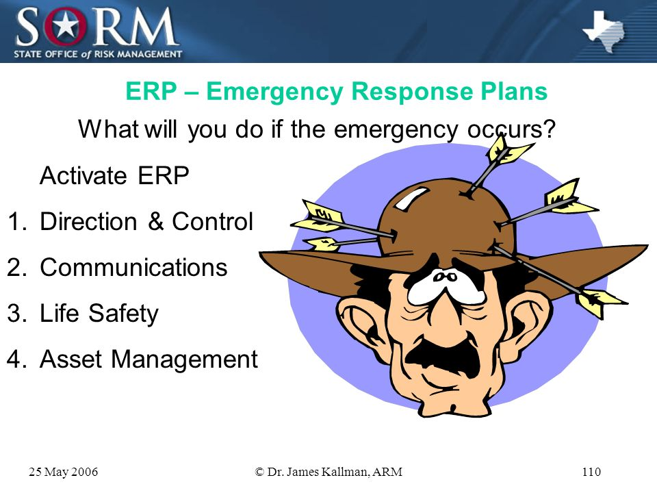 25 May 2006© Dr. James Kallman, ARM109 DPP – Disaster Preparation Plans 5. Test your plans a. Tabletop exercises b. Simulations c. Full interruption t