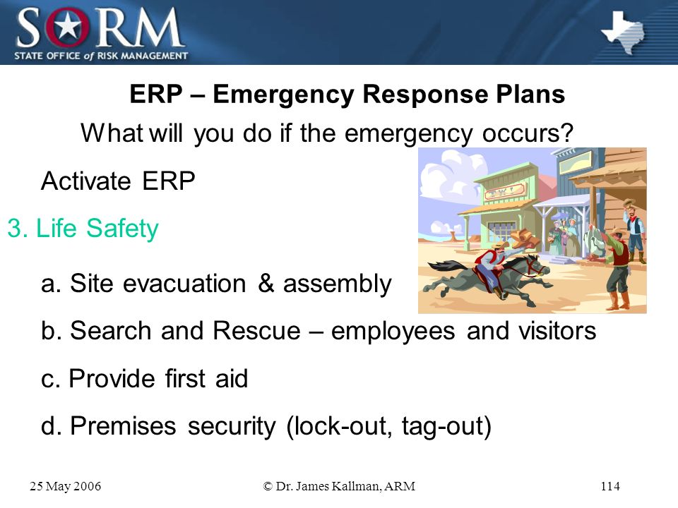 25 May 2006© Dr. James Kallman, ARM113 ERP – Emergency Response Plans What will you do if the emergency occurs? Activate ERP 2. Communications d. Acti