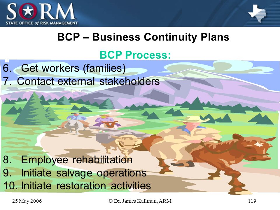 25 May 2006© Dr. James Kallman, ARM118 BCP – Business Continuity Plans BCP Process: 1.Articulate goals 2.Activate BCP teams 3.Distribute schedules & a