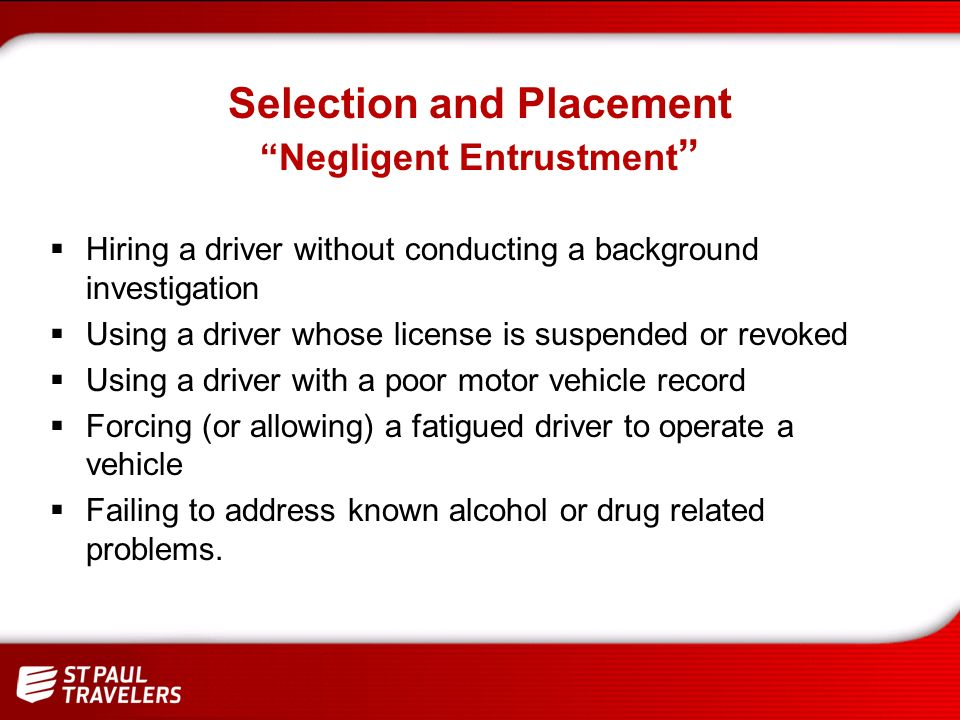 Selection and Placement Requirements – CDL Class.