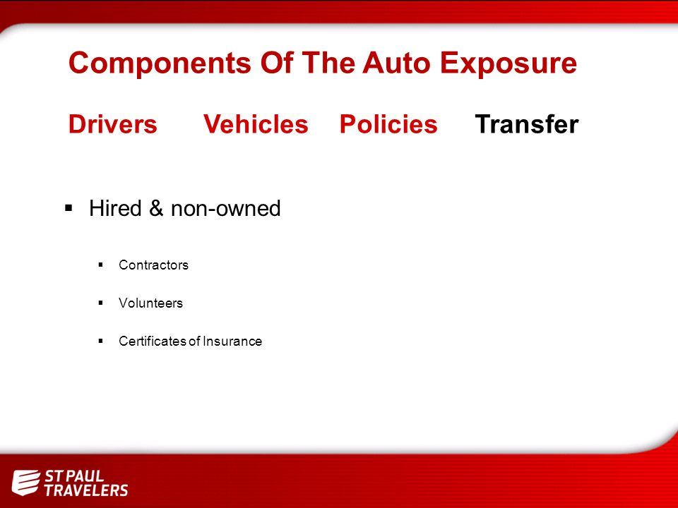 Maintenance Personal vehicle use on city / county business Accidents & thefts General driver responsibilities Preventable accidents Components Of The Auto Exposure DriversVehiclesPoliciesTransfer