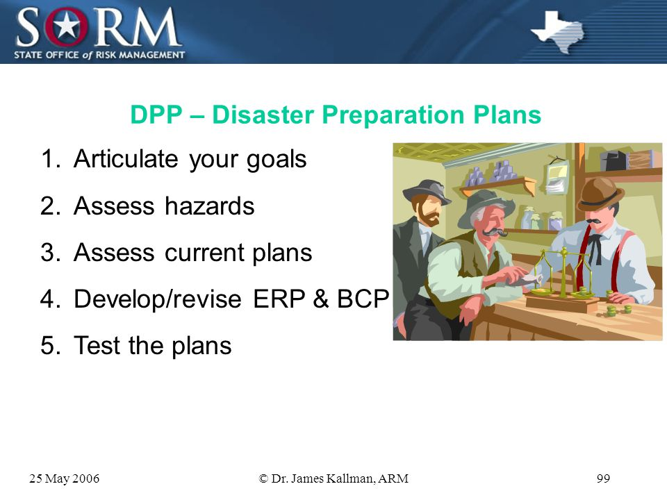 25 May 2006© Dr. James Kallman, ARM98 Components of Disaster Planning & Recovery Before: DPP – Disaster Preparation Plans During: ERP – Emergency Resp