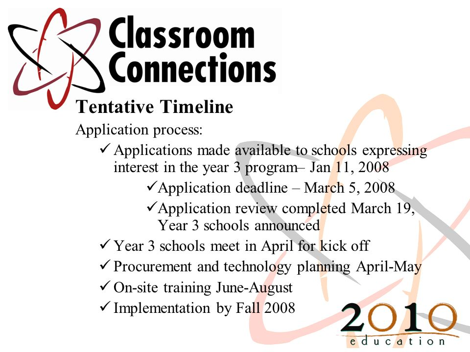 Tentative Timeline Application process: Applications made available to schools expressing interest in the year 3 program– Jan 11, 2008 Application deadline – March 5, 2008 Application review completed March 19, Year 3 schools announced Year 3 schools meet in April for kick off Procurement and technology planning April-May On-site training June-August Implementation by Fall 2008