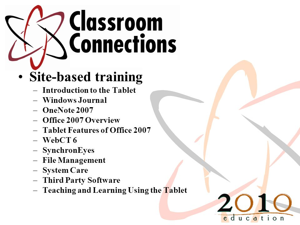 Site-based training –Introduction to the Tablet –Windows Journal –OneNote 2007 –Office 2007 Overview –Tablet Features of Office 2007 –WebCT 6 –SynchronEyes –File Management –System Care –Third Party Software –Teaching and Learning Using the Tablet