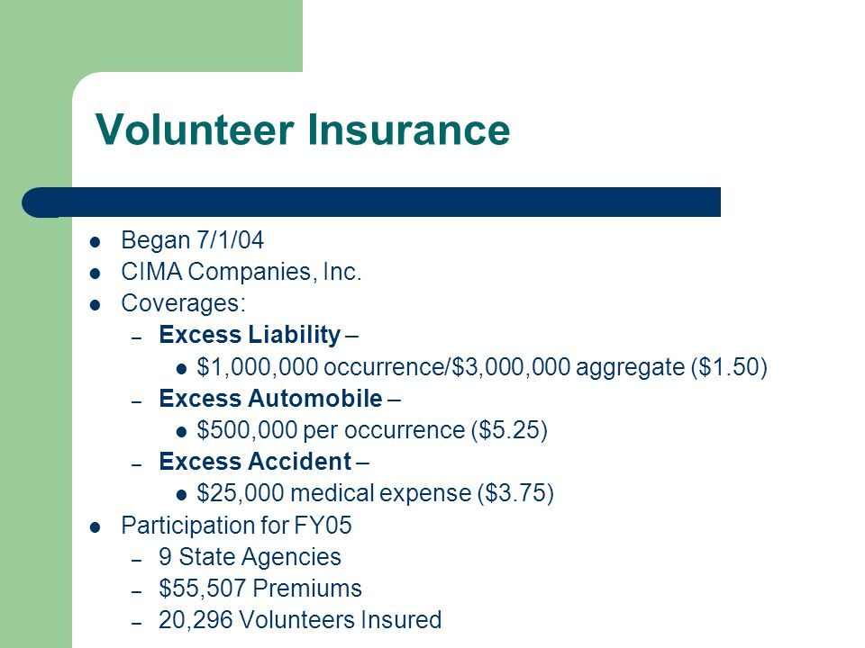 Volunteer Insurance Began 7/1/04 CIMA Companies, Inc.