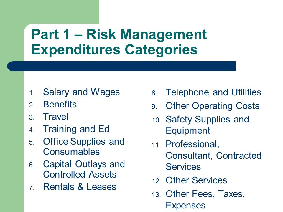 Part 1 – Risk Management Expenditures Categories 1.