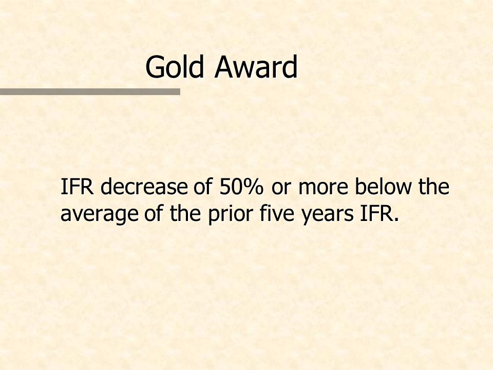 Gold Award IFR decrease of 50% or more below the average of the prior five years IFR.