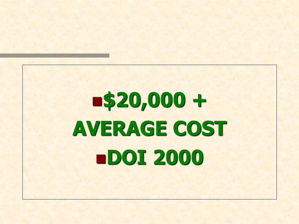 n $20,000 + AVERAGE COST n DOI 2000
