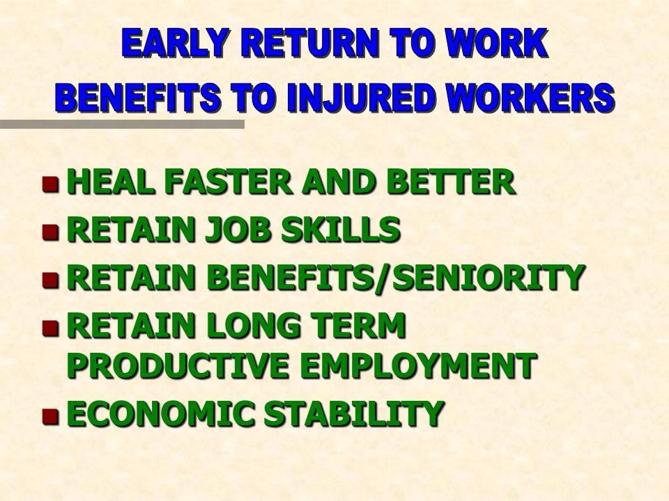 n HEAL FASTER AND BETTER n RETAIN JOB SKILLS n RETAIN BENEFITS/SENIORITY n RETAIN LONG TERM PRODUCTIVE EMPLOYMENT n ECONOMIC STABILITY n HEAL FASTER A