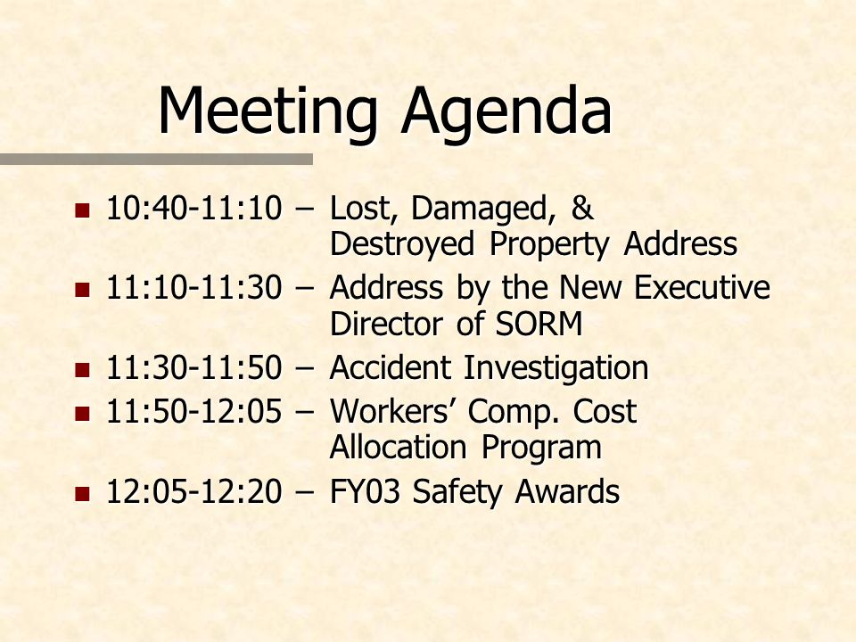 Meeting Agenda n 10:40-11:10 – Lost, Damaged, & Destroyed Property Address n 11:10-11:30 –Address by the New Executive Director of SORM n 11:30-11:50