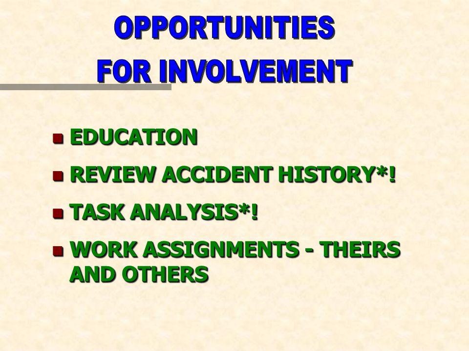 n EDUCATION n REVIEW ACCIDENT HISTORY*. n TASK ANALYSIS*.