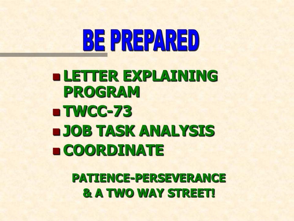 n LETTER EXPLAINING PROGRAM n TWCC-73 n JOB TASK ANALYSIS n COORDINATE PATIENCE-PERSEVERANCE & A TWO WAY STREET.