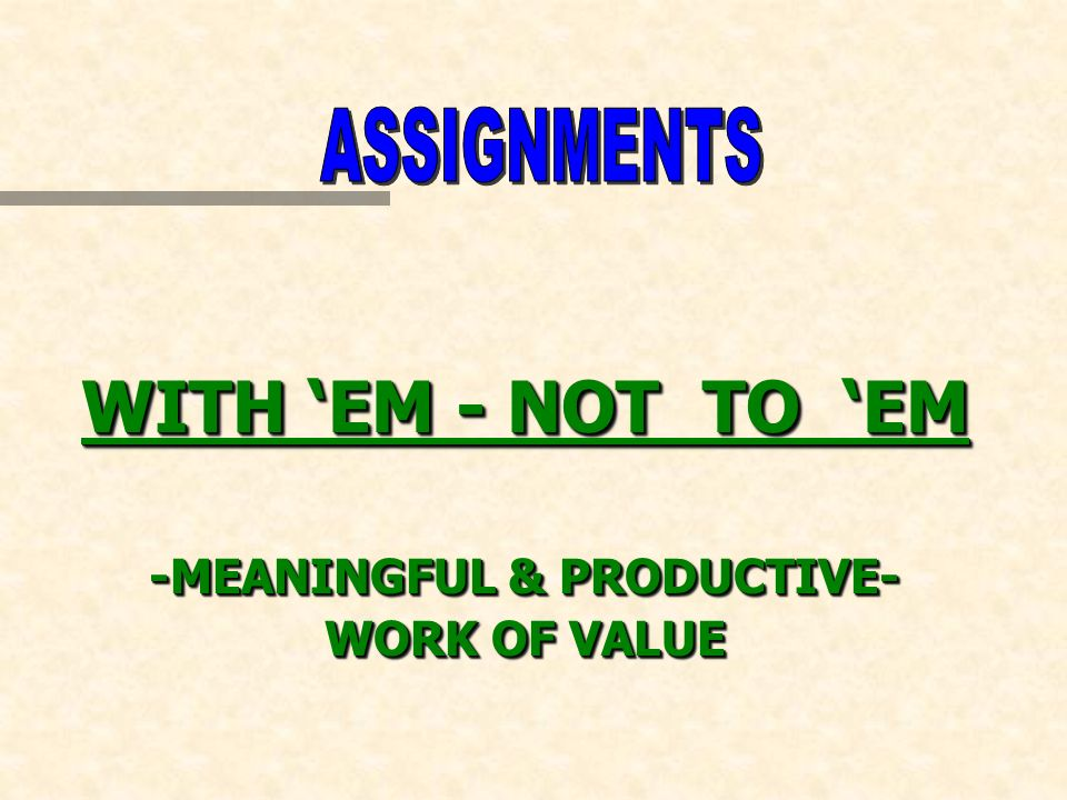 WITH EM - NOT TO EM -MEANINGFUL & PRODUCTIVE- WORK OF VALUE WITH EM - NOT TO EM -MEANINGFUL & PRODUCTIVE- WORK OF VALUE