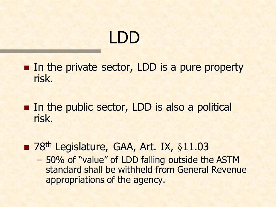 LDD n In the private sector, LDD is a pure property risk. n In the public sector, LDD is also a political risk. n 78 th Legislature, GAA, Art. IX, §11