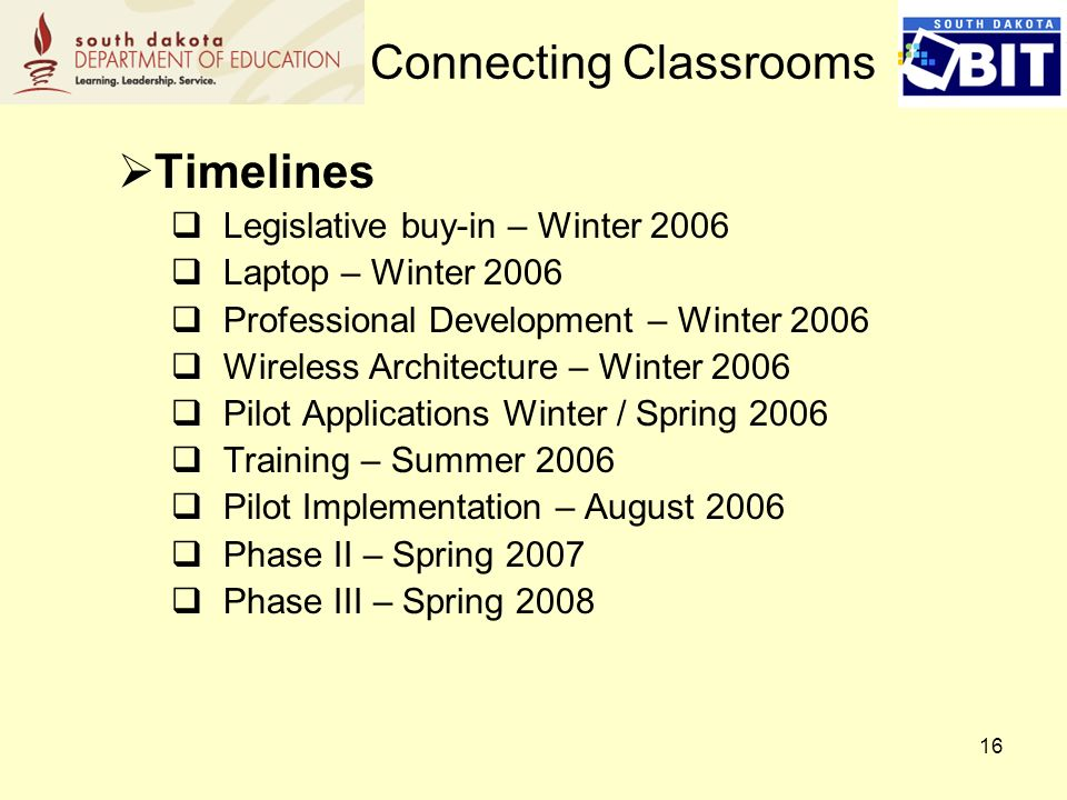 16 Timelines Legislative buy-in – Winter 2006 Laptop – Winter 2006 Professional Development – Winter 2006 Wireless Architecture – Winter 2006 Pilot Applications Winter / Spring 2006 Training – Summer 2006 Pilot Implementation – August 2006 Phase II – Spring 2007 Phase III – Spring 2008 Connecting Classrooms