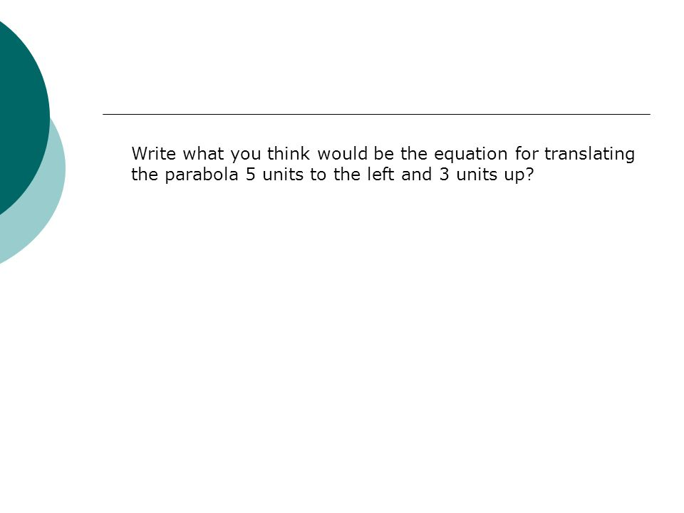 Write what you think would be the equation for translating the parabola 5 units to the left and 3 units up?