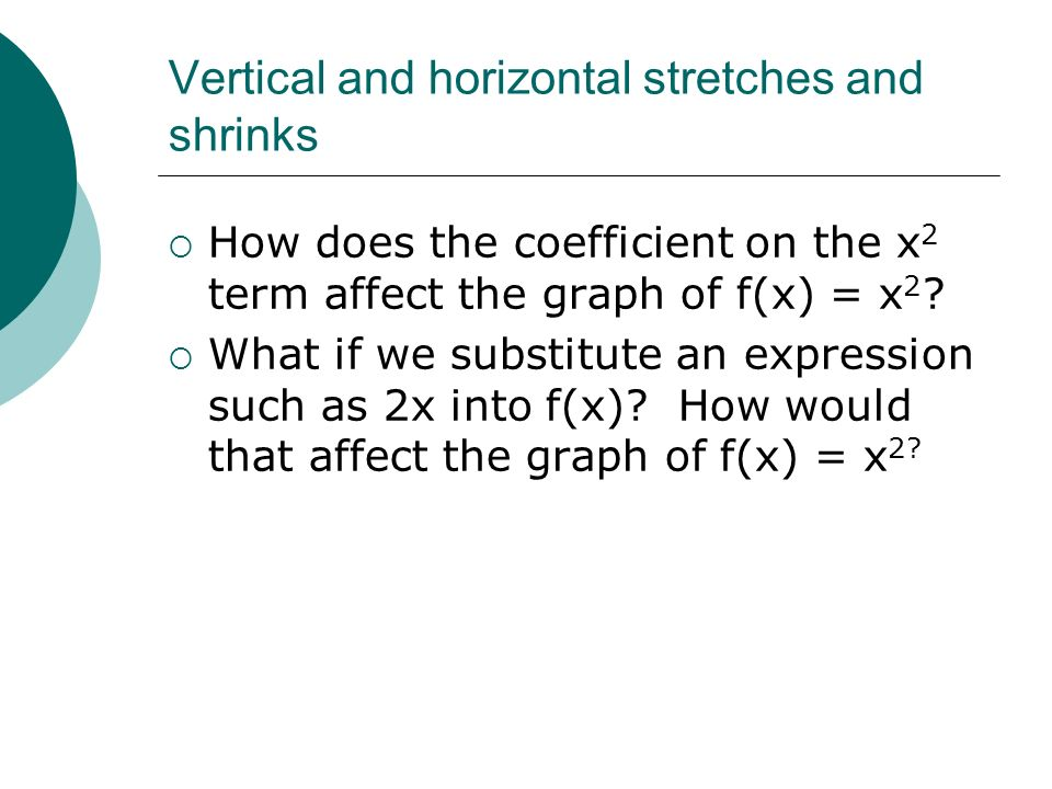 Vertical and horizontal stretches and shrinks How does the coefficient on the x 2 term affect the graph of f(x) = x 2 ? What if we substitute an expre