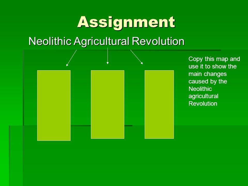 Assignment Neolithic Agricultural Revolution Neolithic Agricultural Revolution Copy this map and use it to show the main changes caused by the Neolith