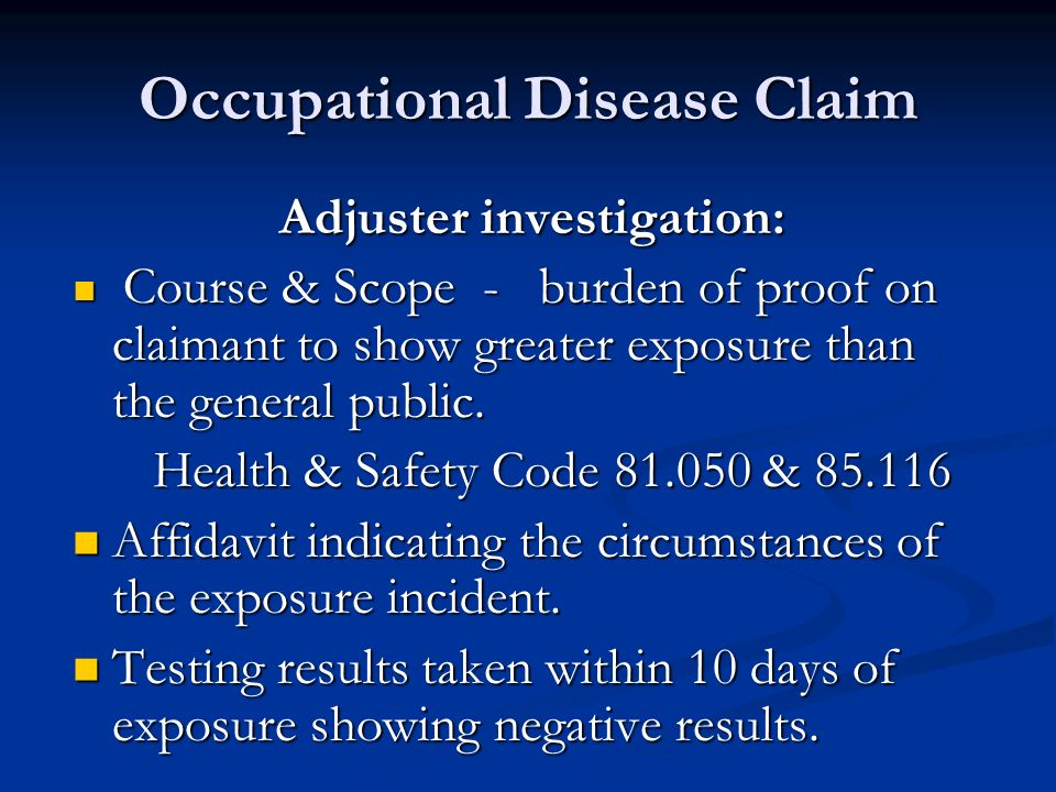 Occupational Disease Claim DWC1s filed online with SORM DWC1s filed online with SORM Manifestation of communicable disease: Manifestation of communicable disease: Illness that occurs through the transmission of an infectious agent or its toxic products from a reservoir to a susceptible host.