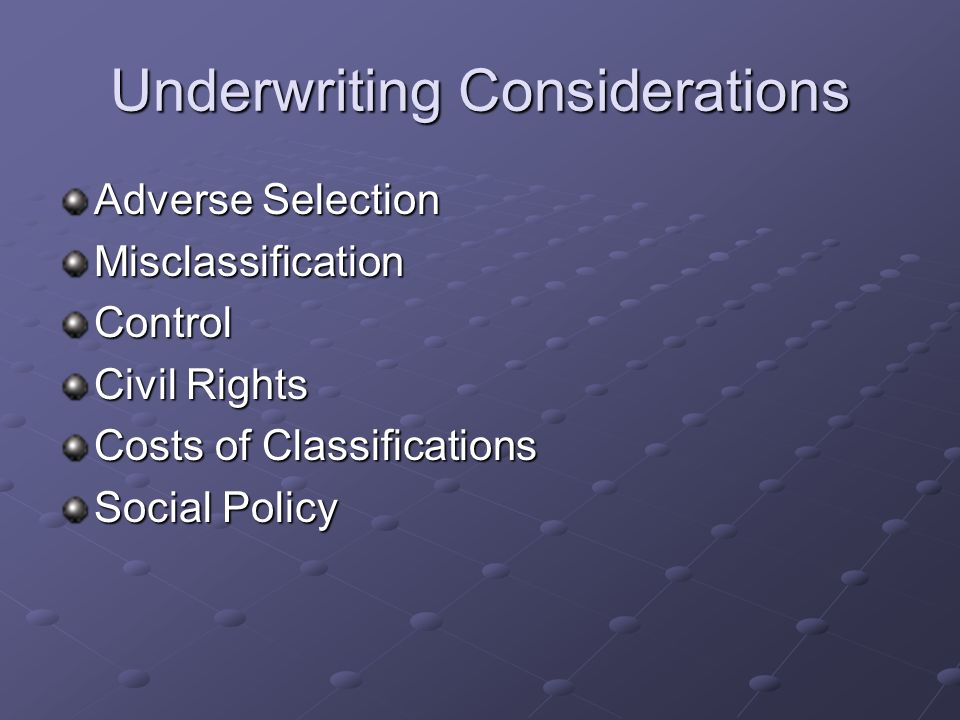 Underwriting-Whats Fair and Why.
