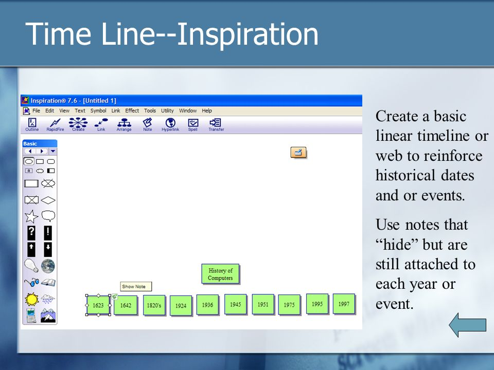 Time Line--Inspiration Create a basic linear timeline or web to reinforce historical dates and or events.