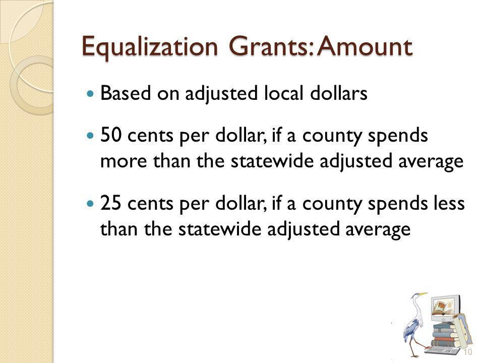 Equalization Grants: Amount Based on adjusted local dollars 50 cents per dollar, if a county spends more than the statewide adjusted average 25 cents per dollar, if a county spends less than the statewide adjusted average 10