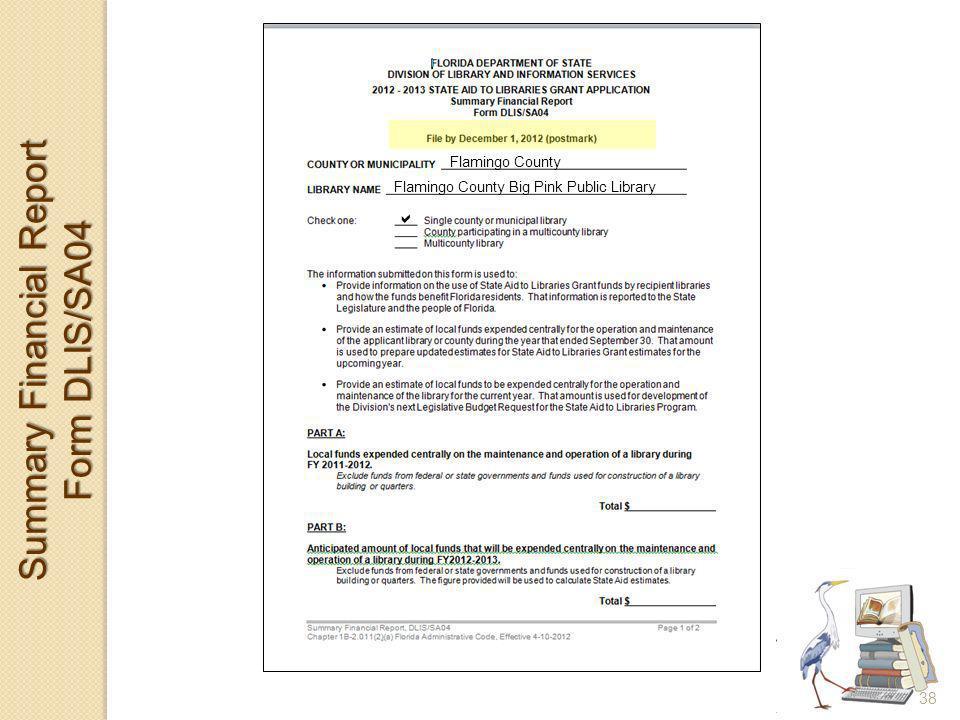 Summary Financial Report Form DLIS/SA04 Flamingo County Big Pink Public Library Flamingo County 38