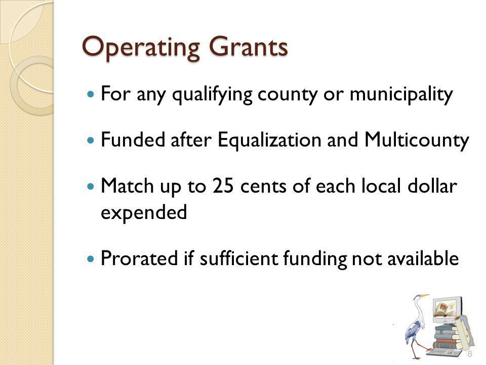 Operating Grants For any qualifying county or municipality Funded after Equalization and Multicounty Match up to 25 cents of each local dollar expended Prorated if sufficient funding not available 8