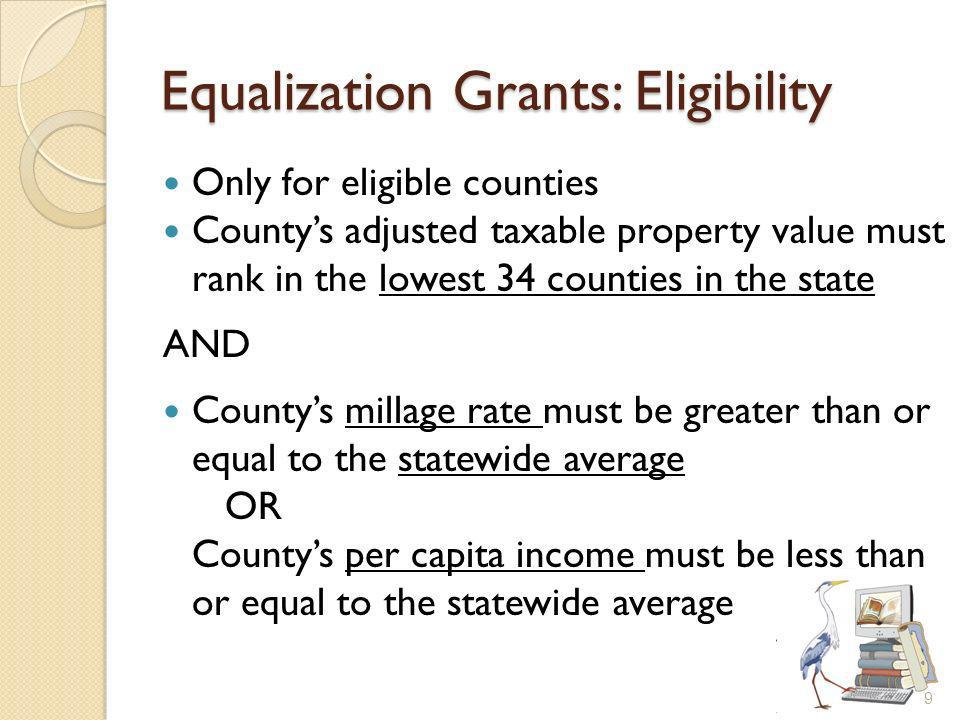 Equalization Grants: Eligibility Only for eligible counties Countys adjusted taxable property value must rank in the lowest 34 counties in the state AND Countys millage rate must be greater than or equal to the statewide average OR Countys per capita income must be less than or equal to the statewide average 9