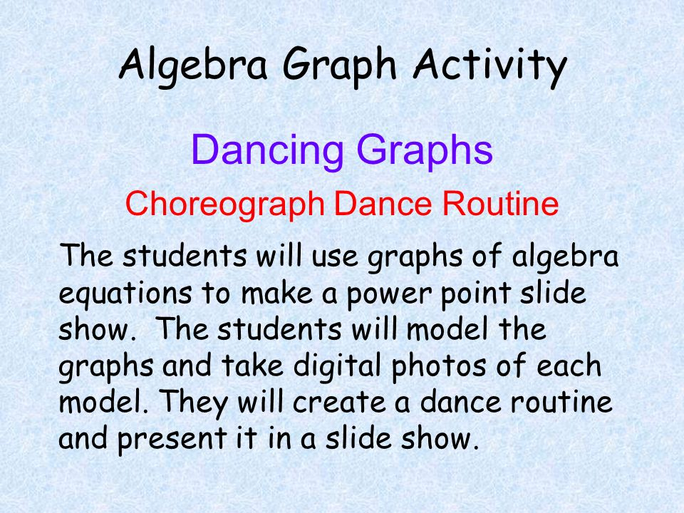 Algebra Graph Activity Dancing Graphs Choreograph Dance Routine The students will use graphs of algebra equations to make a power point slide show. Th