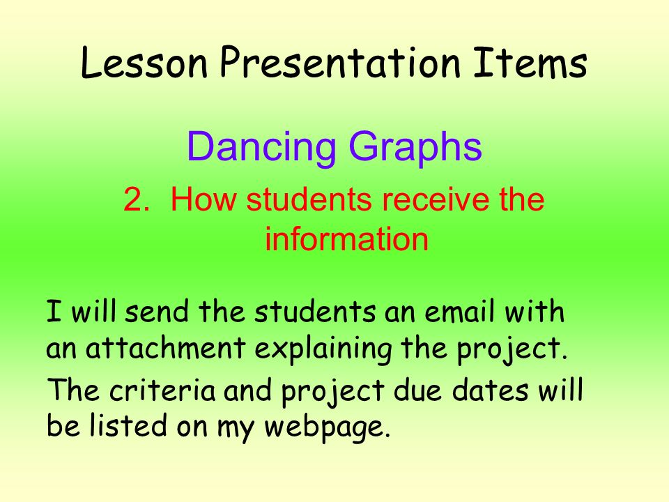 Lesson Presentation Items Dancing Graphs 2. How students receive the information I will send the students an email with an attachment explaining the p