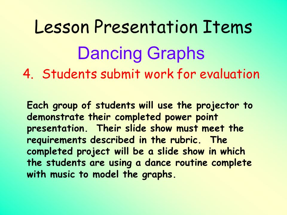 Lesson Presentation Items Dancing Graphs 4.Students submit work for evaluation Each group of students will use the projector to demonstrate their comp