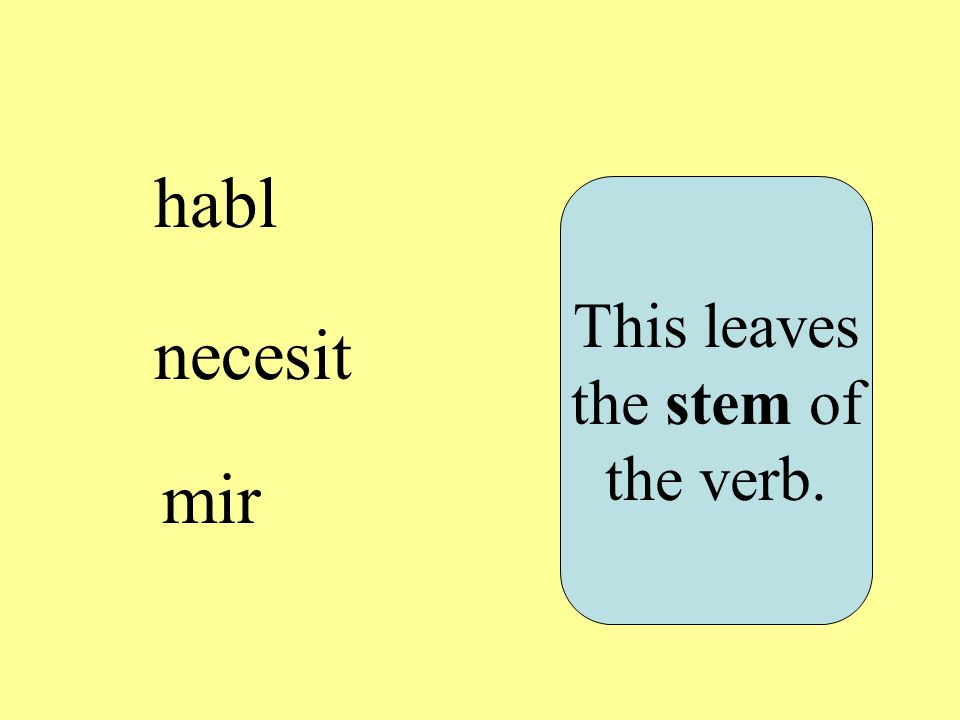 habl necesit mir This leaves the stem of the verb.