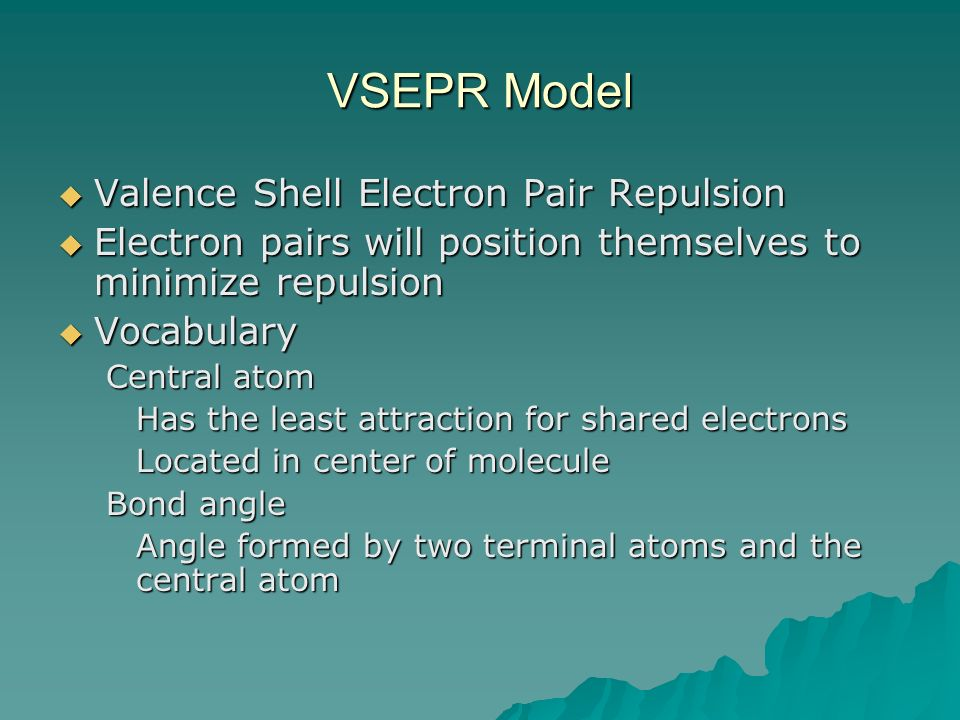 VSEPR Model Valence Shell Electron Pair Repulsion Valence Shell Electron Pair Repulsion Electron pairs will position themselves to minimize repulsion Electron pairs will position themselves to minimize repulsion Vocabulary Vocabulary Central atom Has the least attraction for shared electrons Located in center of molecule Bond angle Angle formed by two terminal atoms and the central atom