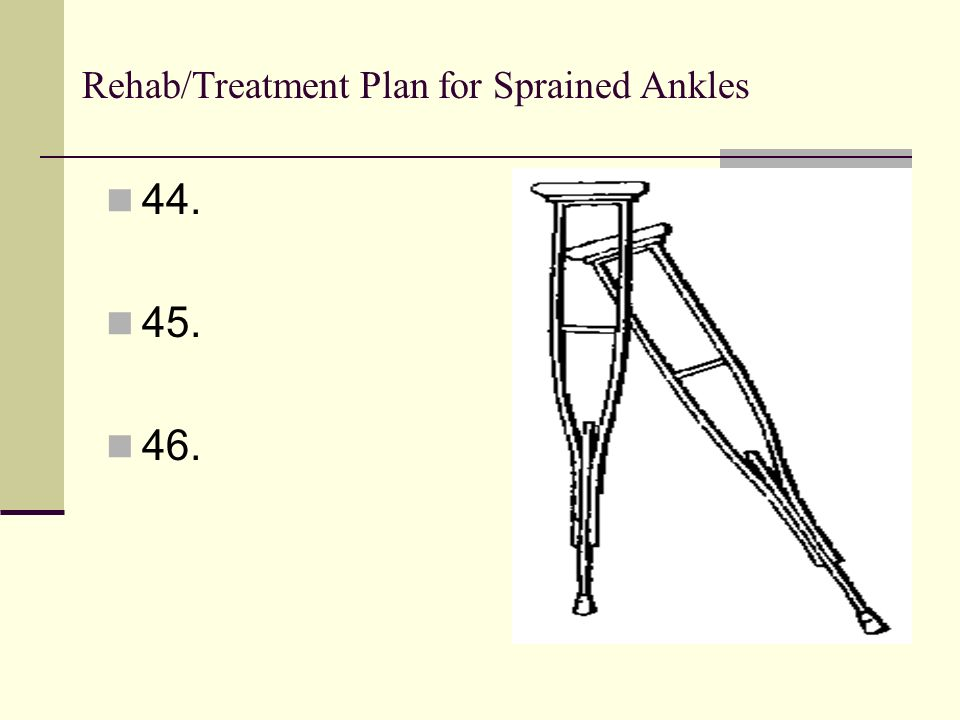 Rehab/Treatment Plan for Sprained Ankles 44. 45. 46.