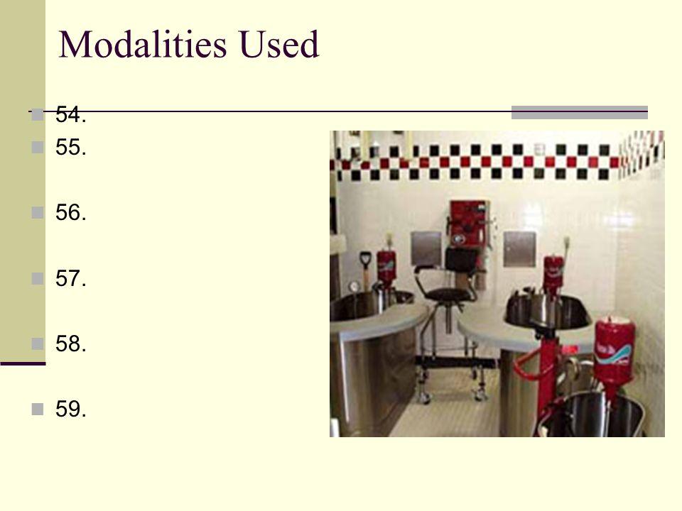 Modalities Used 54. 55. 56. 57. 58. 59.