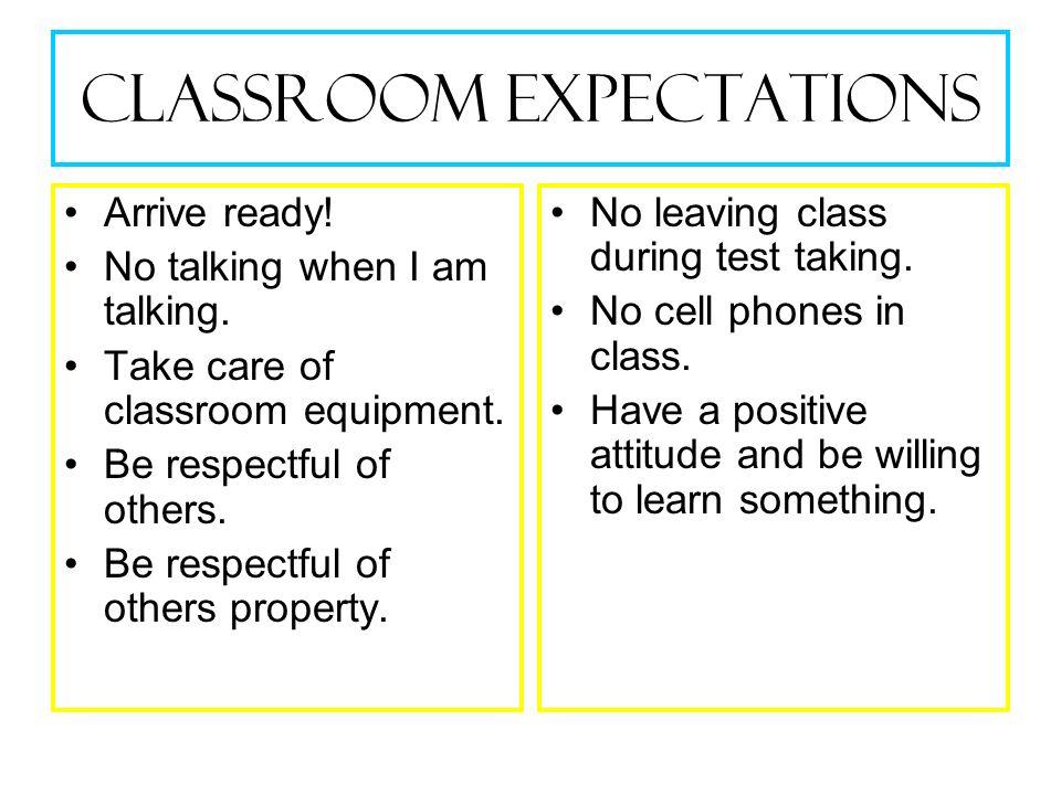 Classroom Expectations Arrive ready.No talking when I am talking.