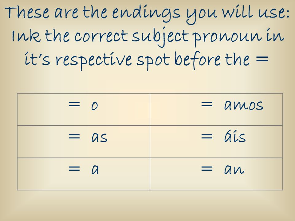 These are the endings you will use: Ink the correct subject pronoun in its respective spot before the = = o = amos = as = áis = a = an