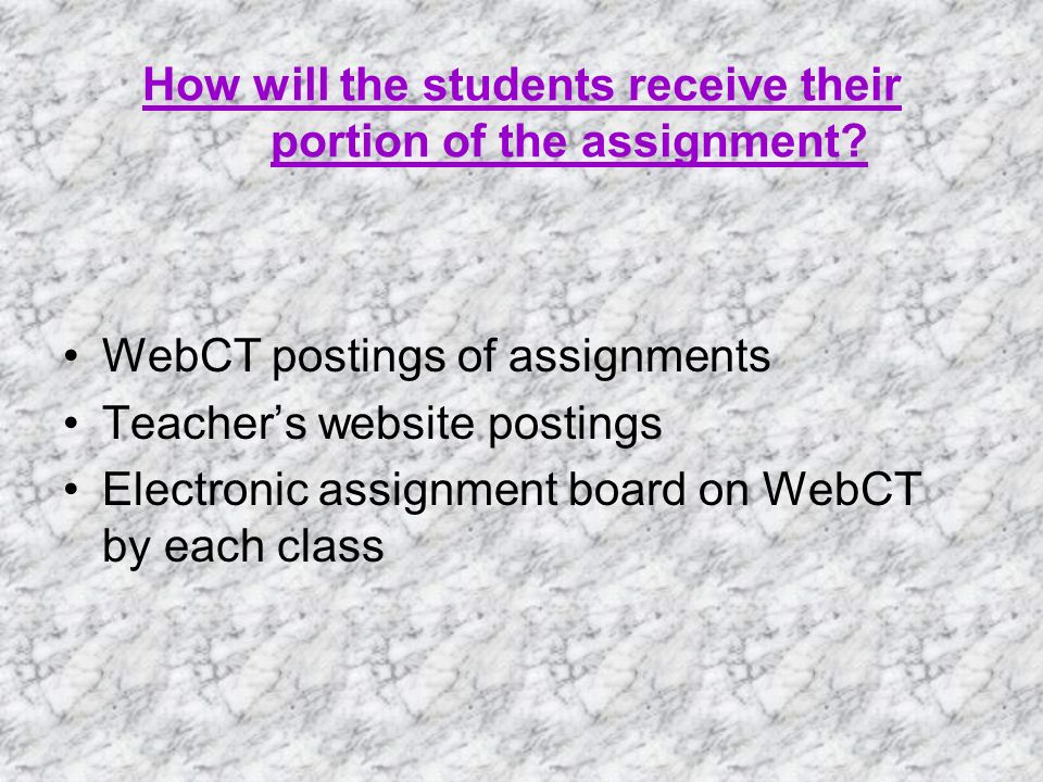 How will the students receive their portion of the assignment.