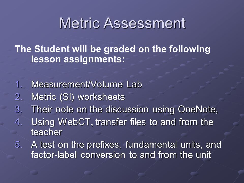 Metric Assessment The Student will be graded on the following lesson assignments: 1.Measurement/Volume Lab 2.Metric (SI) worksheets 3.Their note on th