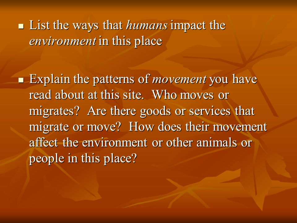 List the ways that humans impact the environment in this place List the ways that humans impact the environment in this place Explain the patterns of