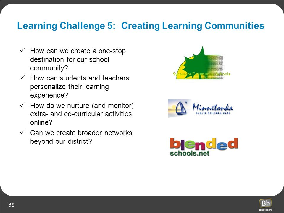39 Learning Challenge 5: Creating Learning Communities How can we create a one-stop destination for our school community? How can students and teacher
