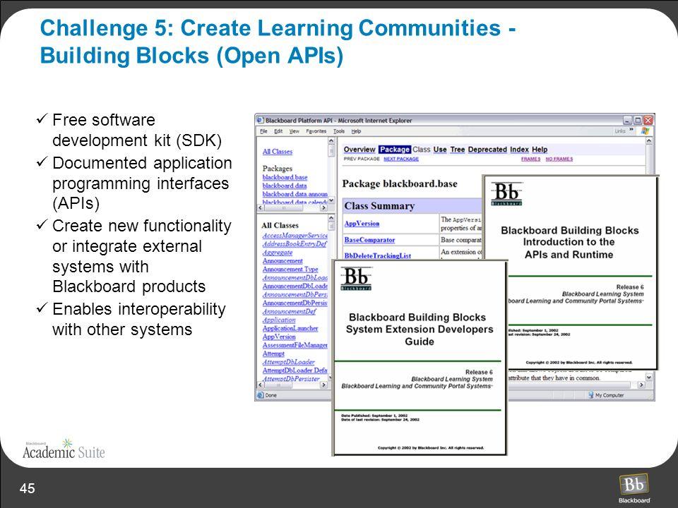 45 Challenge 5: Create Learning Communities - Building Blocks (Open APIs) Free software development kit (SDK) Documented application programming inter