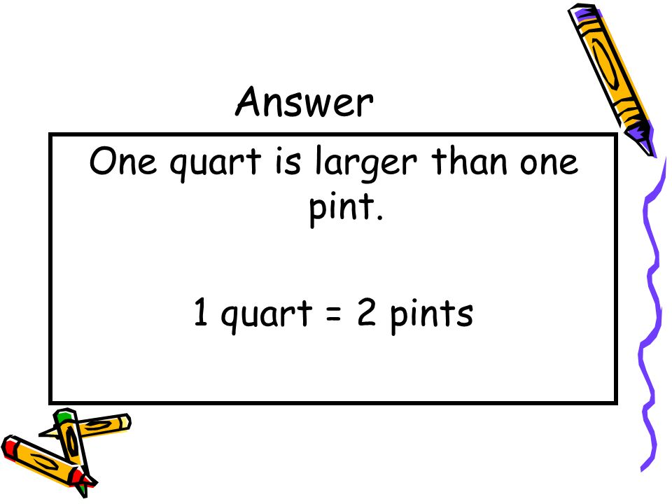 Question Which unit is larger? one pint or one quart