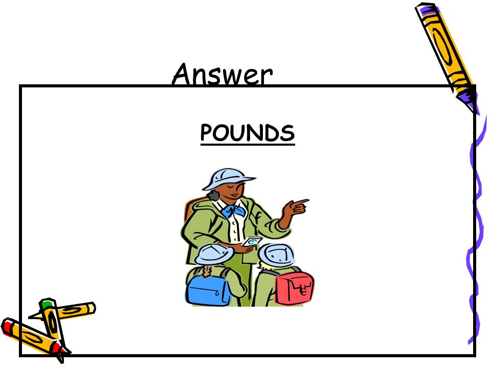 Question Choose the better estimate to weigh the following items: pounds or ounces